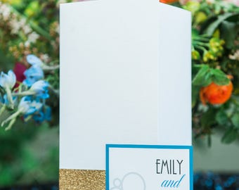 Modern Lux Electric Blue, Hot Pink, and Gold Pocketfold Invitation Suite