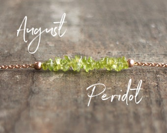 Raw Peridot Necklace, Gemstone Necklace, Delicate Crystal Necklace, Raw Stone Choker, Mum Gift for Her, August Birthstone Necklace, Jewelry