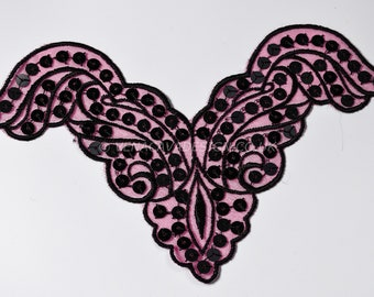 Beautiful Pink and  Black Appliqués with sequins.