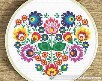 Polish floral heart Cross stitch pattern - Modern cross stitch PDF - Instant download