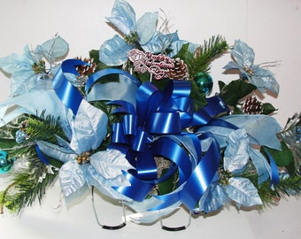 Valentines Day Mothers Day Periwinkle Blue Poinsettia Tombstone Saddle Cemetery Grave Headstone Silk Flowers Custom Arrangements Welcome!