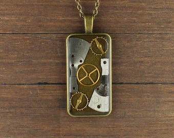 Steampunk pendant, Steampunk necklace, rectangular pendant, rectangular necklace, Watch Parts pendant, Watch parts necklace