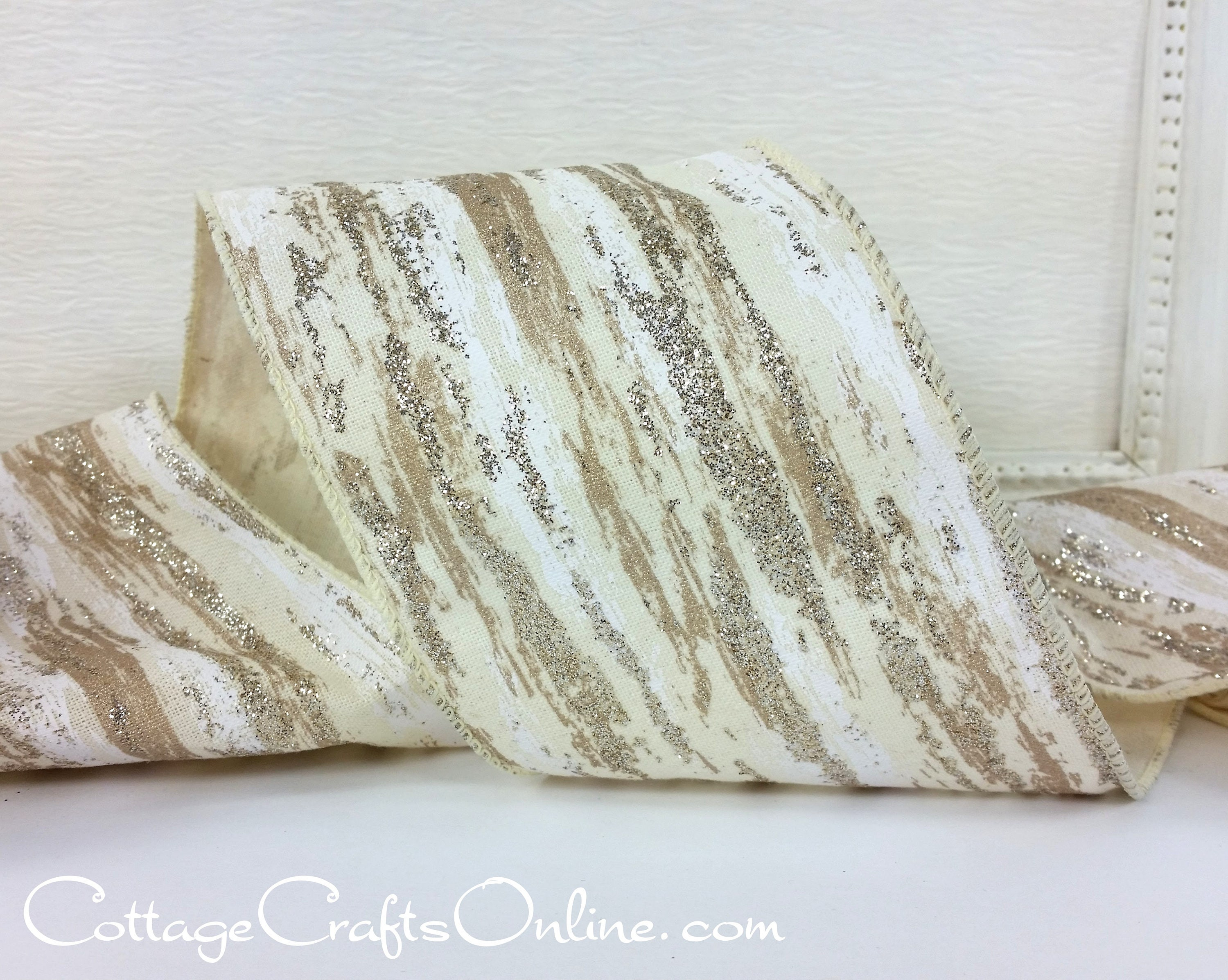 Christmas Wired Ribbon 4 Birch Bark Look Platinum