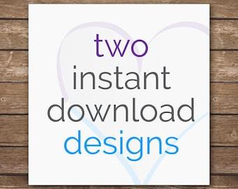 Design Discount Package - 2 Coordinating Instant Download Designs - Nursery Décor - DIGITAL FILES
