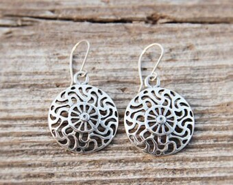 Silver Prussian Sun symbol earrings