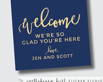 Wedding guest kit stickers, Welcome bag labels, welcome sticker, welcome gable box labels, gable box stickers, out of town guest kit sticker