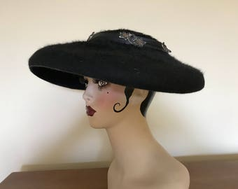 Vintage 1950's Black Beaver Hat With Emblems ~  Clips To Head ~ 13 Inch Across By 45 Inch Around Gorgeous And Very Good Condition