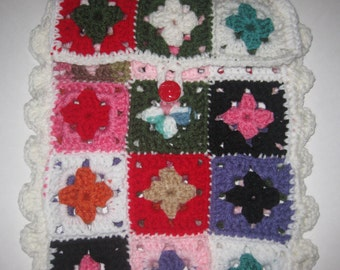 IPad Tablet Cover Granny Squares Fiber Art Hand Crocheted Free Shipping