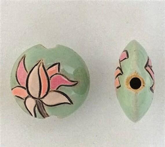 Blooming Magnolia Lentil Beads, Hand Carved And Hand Glazed Ceramic Beads, Golem Design Studio Beads