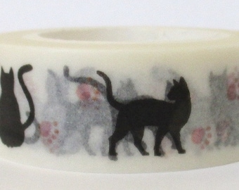 """SALE Washi Tape """"Black Cats with Paw Prints""""   10 Meters"""
