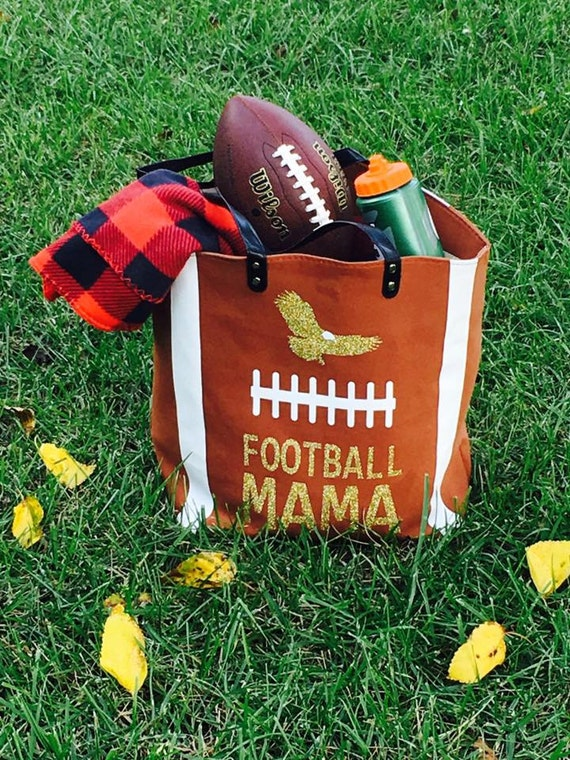 Football Tote Bag with magnetic closure, inside pocket