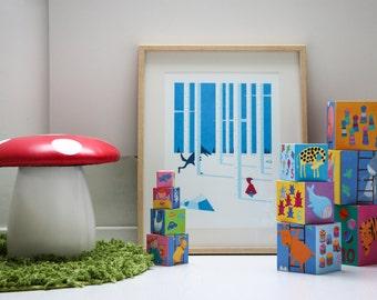 Silkscreen / Poster / Red Riding Hood / Small size / A3 / Children / Decoration