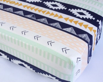 Southwestern Baby Bedding - Changing Pad Covers / Fitted Crib Sheets / Navy Mini Crib Sheets / Aztec Nursery Bedding /Babiease Baby Sheets