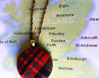 Plaid Necklace - Outlander jewelry Red Tartan Jewelry Red Plaid Tartan necklace Mcgillivray tartan Stuart tartan