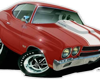 Muscle Car Wall Decal 1970 Chevelle, Car Photo Decal, Man Cave Decor, Boys Room Decor, Hot Rod Car, 1970s Classic Cars