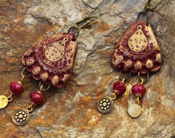 Ethnic chandeliers- rustic earrings- Polymer clay burgundy and gold- Faceted glass beads- Golden charms- polymer jewelery- Unique creation