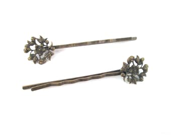 Flower filigree bobby pins brass 14x60mm, Pick your amount, C56