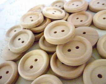 Wood Buttons - 7/8 Inch Round Wooden Buttons - Pack of 20