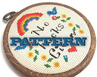 PDF Cross Stitch Pattern No Fucks Given-Adult Cross Stitch-Mature Mantra-DIY Hoop Art-Wall Art-Office Decor-Gifts for Men-Gag Gift-Mancave