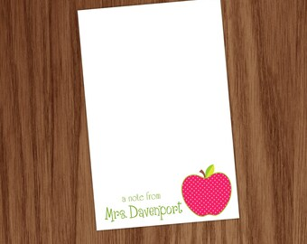 Teacher Apple Notepad - Personalized Apple Teacher Gifts Note Memo Pad - Teacher Apprecation Back to School Gifts