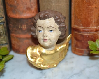 Antique German Carved Painted Gilded Wood Cherub Angel Head with Wings