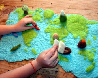 Needle Felted Educational Map and Figures