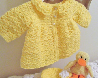 Yellow Baby Sweater, Crochet Baby Sweater, Baby Hat, Newborn Set, Baby Coat, Infant Outfit, Handmade Baby Gift, Yellow Baby Set