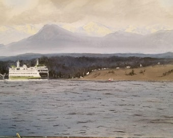 Washington State ferry oil painting
