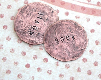 Decision Coin . Smashed Penny or Nickel . Includes 2 words. Hand stamped, hammered Heads & Tails. Custom phrase, date, name stamped