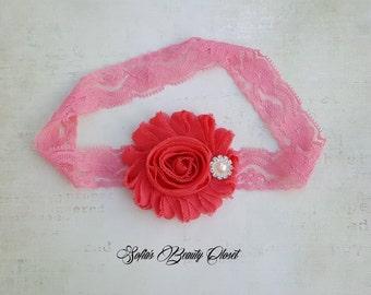 Coral headband. Coral baby headband. Easter baby. Baby lace headband. Newborn headband. Infant headbands. Baby girl headband. Coral wedding