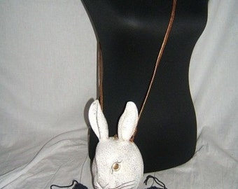 Timmy Woods Vintage Whimsical Acacia White Gold Rabbit Purse Collectible Wooden bag