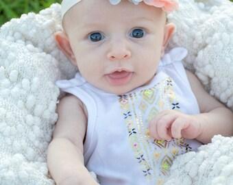 Grey peach baby headband, baby headband, newborn headband, infant headband, gray peach headband, toddler headband, baby hair band