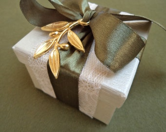 Ivory paper box wedding favor with olive branch