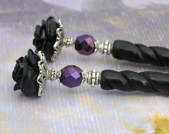 Black Rose Hairsticks   Bella Rosa   Elegant Victorian, gothic wedding, romantic goth, bone hairsticks, gothic lolita, black and purple