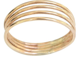 14k gold four band thumb ring, finger ring
