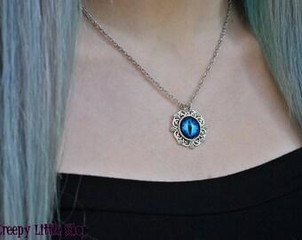 Dragon eye cameo necklace,blue dragon eye pendant,game of thrones dragon necklace,fantasy dragon pendant larp,dragon eye charm dragon got