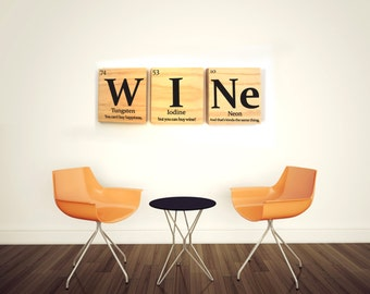 WINE periodic table wooden tile wall art with quote- Periodic table of elements