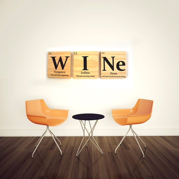 Wine periodic table wooden tile wall art with quote periodic urtaz Image collections