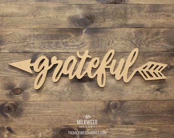 Grateful Arrow Cutout Sign