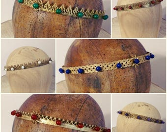 Custom Crown - Brass With Stone Beads - Circlet - Tiara - Historical or Fantasy Costume - Choice of Patterns and Beads - Made To Order