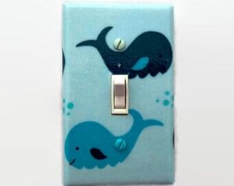 Whale Light Switch Cover - Nautical Switch Plate - Whale Nursery - Aqua Grey Baby Room