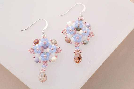 Victorian Lavender, Periwinkle & Cream Beaded Earrings