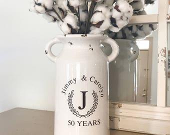 anniversary gift, wedding gifts, farmhouse style, farmhouse, milk can, home decor, vintage, distressed, anniversary gifts, 50th anniversary