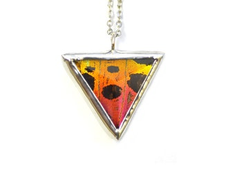 Real Butterfly Wing Necklace. Moth Necklace Small Faceted Triangle. Real Butterfly Jewelry. Sunset Moth Geometric Butterfly Necklace.