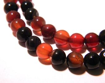 20 agate beads 6 mm - dark red - round - round bead - gem stone - G52