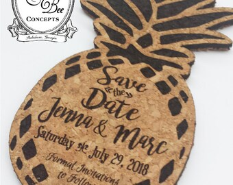 75 Save the Date Pineapple Coasters -Cork Coasters Set of 75-Laser Engraved-Wedding Favor -Natural Cork -Envelopes Available -FREE ENGRAVING