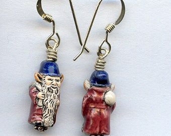Gnome Ceramic Bead Sterling Silver Earrings