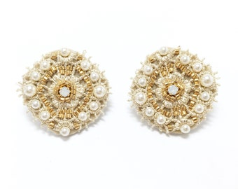 Crystal Pearl Circle Embroidered Stud Earrings-Beige