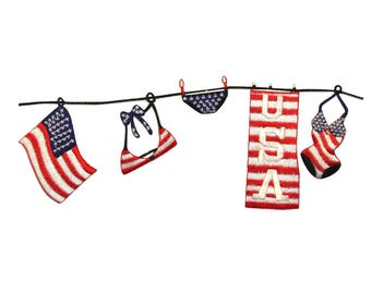 ID 1010 America Swimsuit Clothes Line Patch Flag Embroidered Iron On Applique