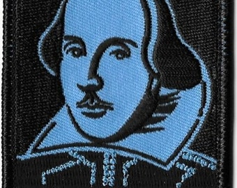 William Shakespeare Embroidered Patch, Iron On Applique, Artist Dave Cherry, Portrait, Playwright, English Literature